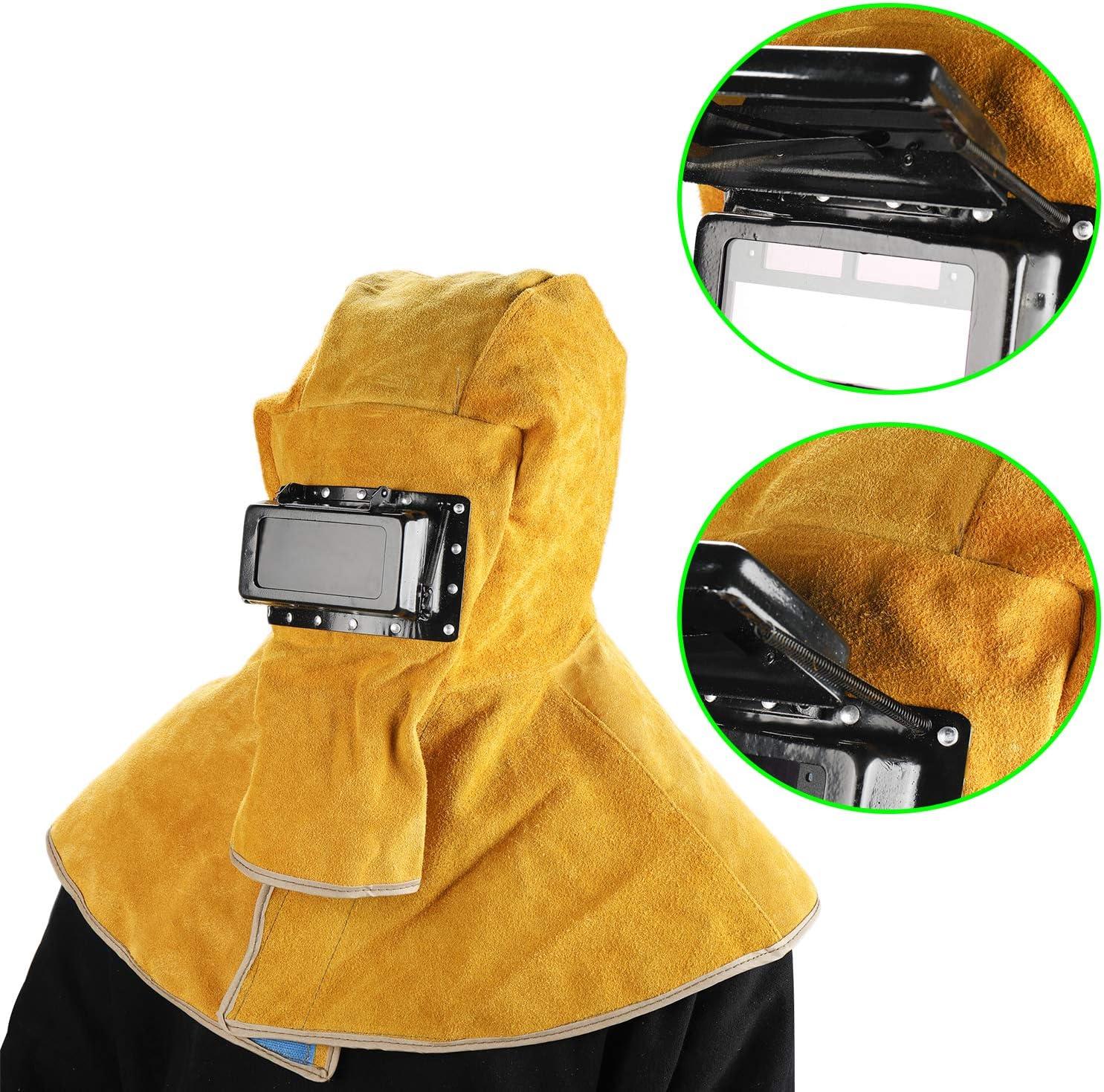 YaeMarine Yellow Solar Welding Helmet Hood Mask Helmet Cowhide Split Leather Auto Darkening Filter Lens Protection Leather Head-Mounted Shawl Welding Protective Mask