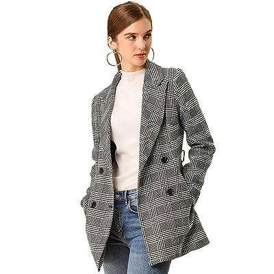 Allegra K Women's Plaid Houndstooth Jacket Button Belted Outwear Checks Work Formal Blazer at Amazon Women's Clothing store