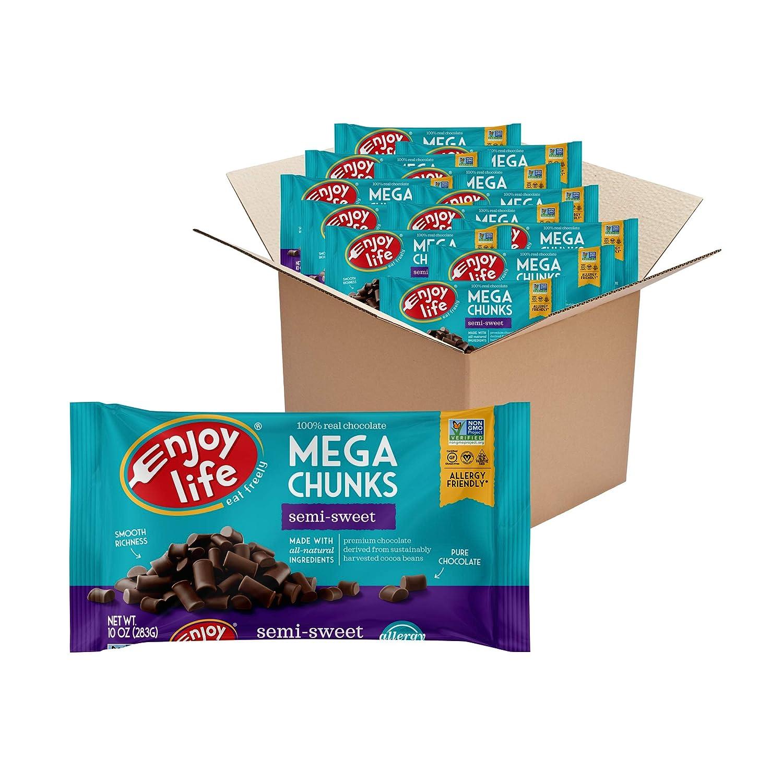 Enjoy Life Foods Baking Chocolate, Soy free, Nut free, Gluten free, Semi Sweet Chocolate Chunks, 120 Ounce (Pack of 12)
