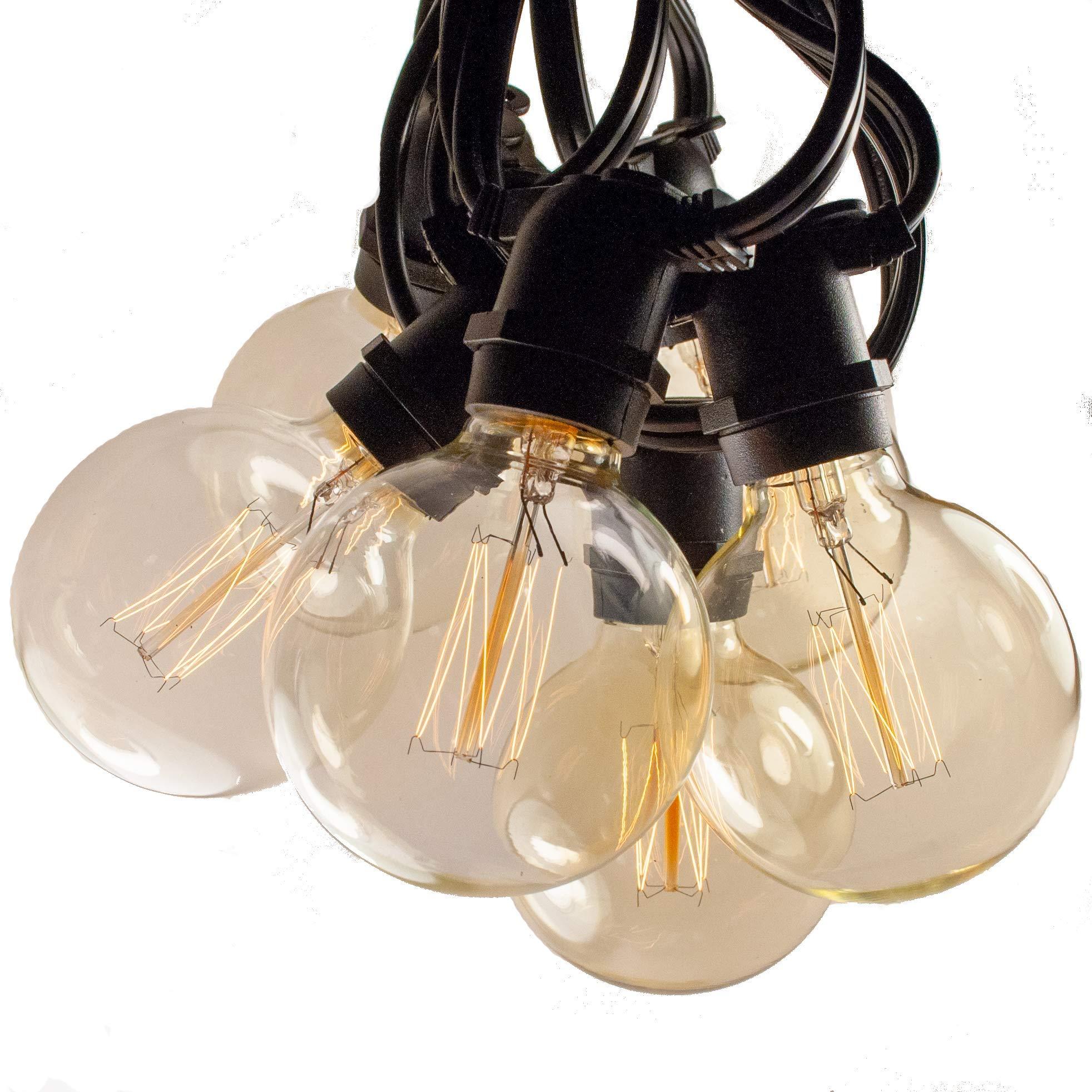 Hometown Evolution, Inc. Edison Bulb Filament String Lights (Commercial 50 Foot Black Wire, G60 Lantern Edison)