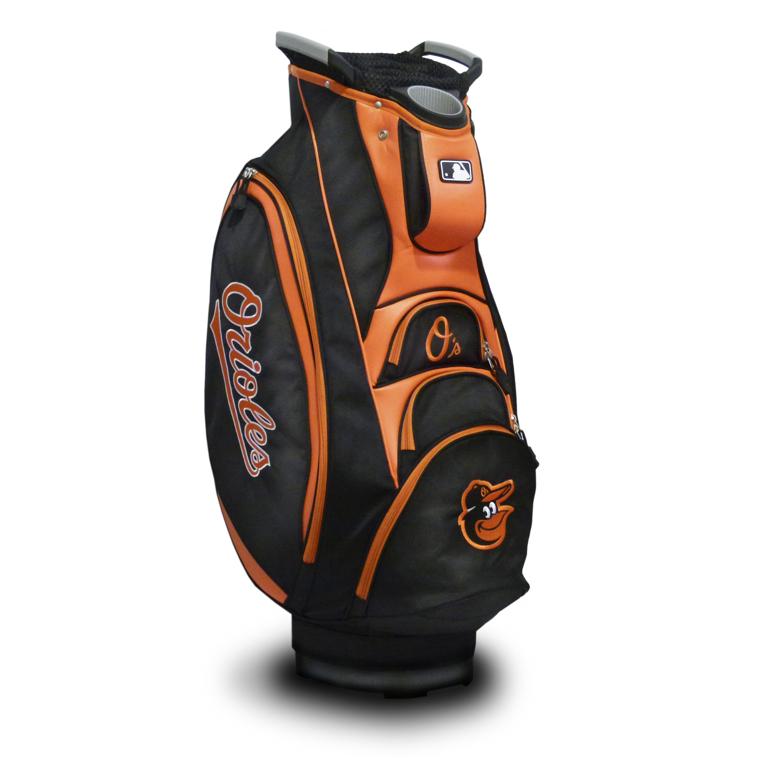 Team Golf MLB Baltimore Orioles Victory Golf Cart Bag, 10-way Top with Integrated Dual Handle & External Putter Well, Cooler Pocket, Padded Strap, Umbrella Holder & Removable Rain Hood