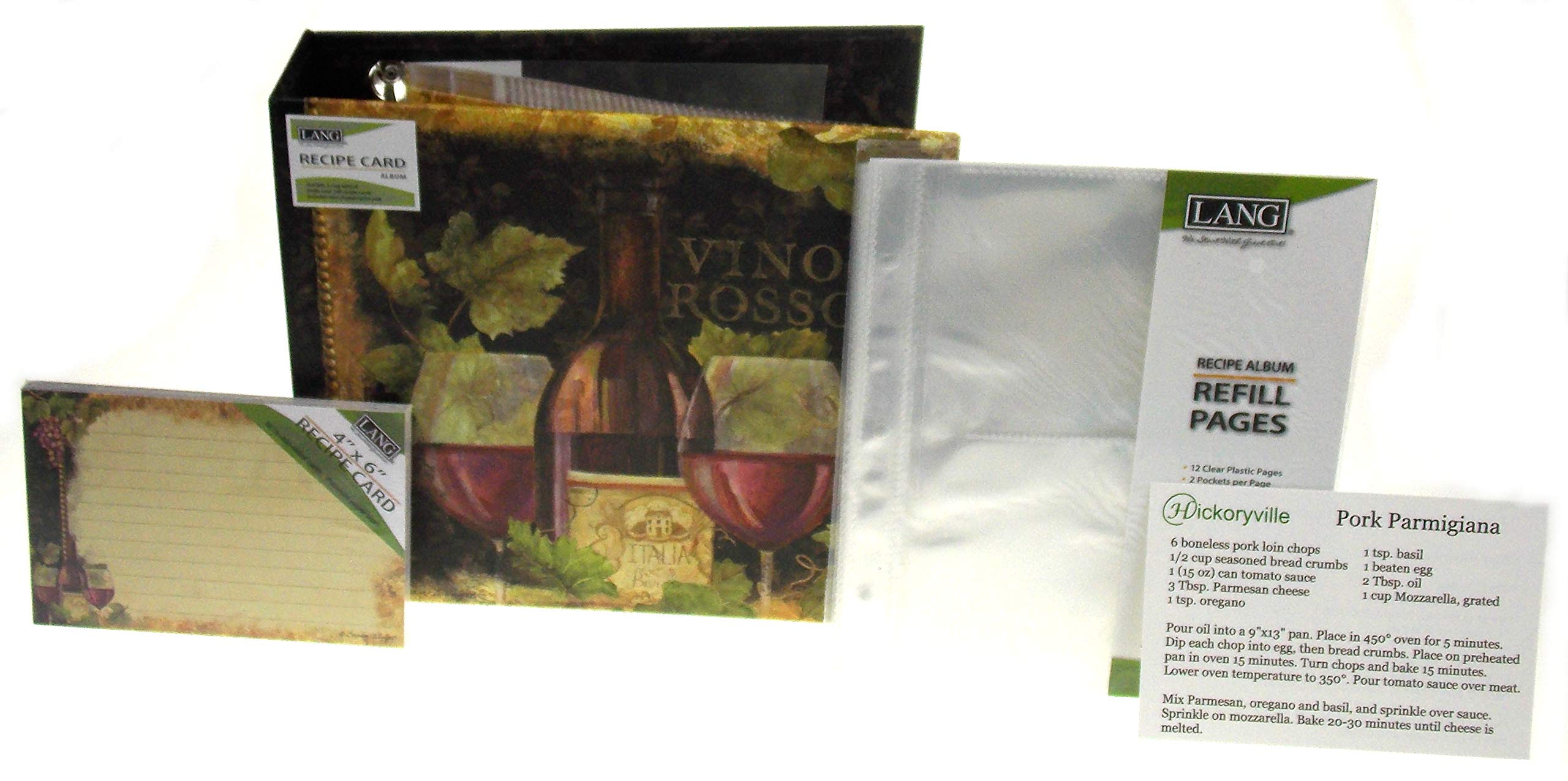 Lang Gilded Wine Recipe Card Album Bundled with Extra Refill Pages & Recipe Cards - Design by Susan Winget (2 Bonus Recipes Included from Hickoryville) by Hickoryville