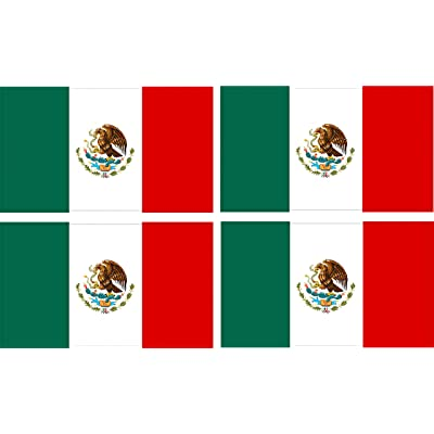 Rogue River Tactical Pack of 4 Mexico Mexican Flag Auto Car Decal Bumper Sticker Truck Boat RV Window 5x3 Inch Rectangle: Automotive