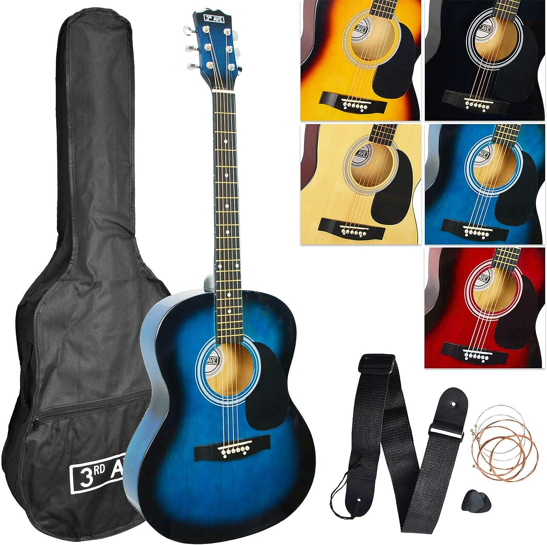 3rd Avenue STX10ABBPK - Paquete de guitarra acústica, Azul (Blueburst), Acústico, Paquete estándar