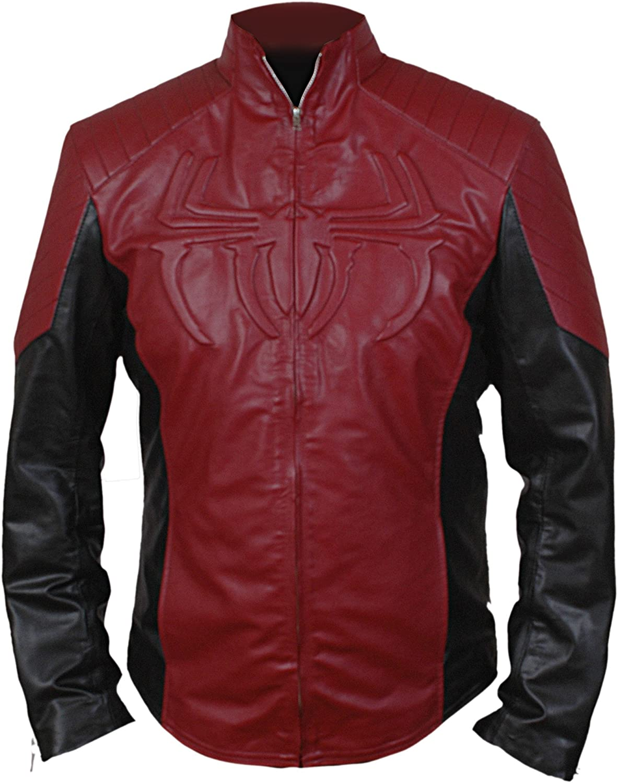 Flesh /& Hide F/&H Mens Superhero Amazing Spider Maroon /& Black Genuine Leather Jacket