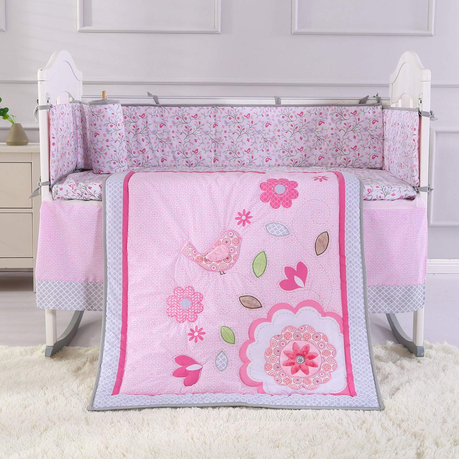 Wowelife Flower Crib Bedding Set Pink Birds Playing 7 Piece Baby Crib Sets with 4 Bumper Pads(Pink-7 Piece)