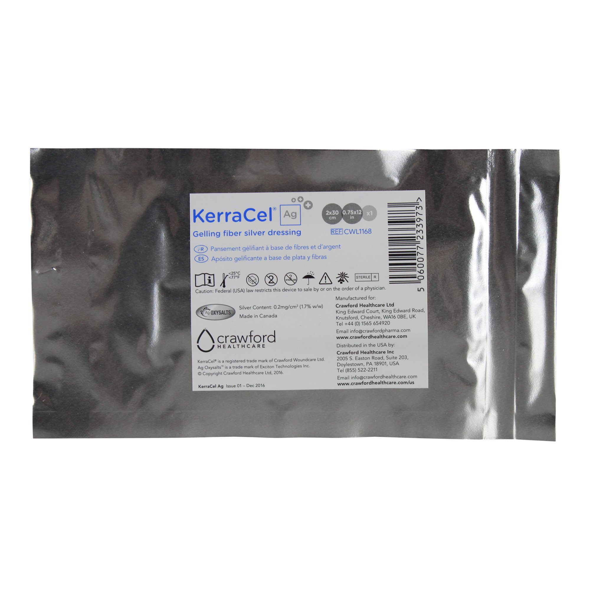 KerraCel Ag .75'' x 12'' Gelling Fiber Silver Would Dressing (CWL1168) - Absorbs and Isolates Wound Drainage and Kills Bacteria, Micro-Contours to Wound Bed, Maintains Healthy Moisture Levels (1 Each)