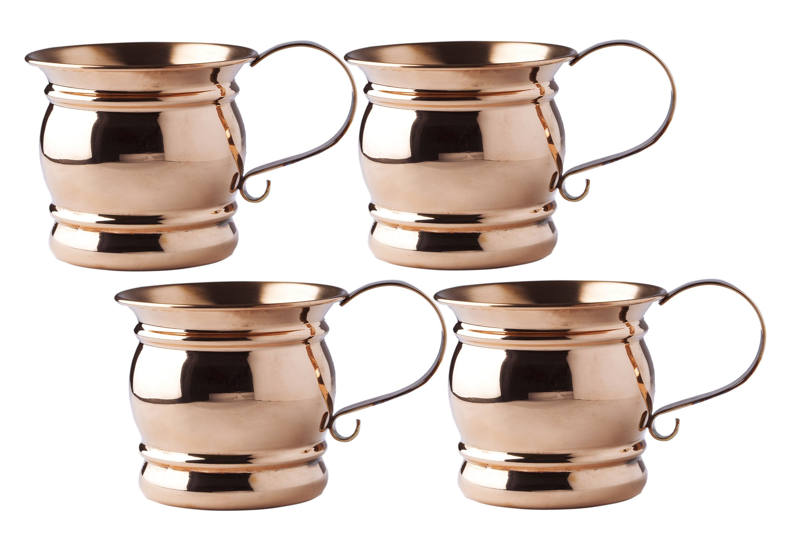 Old Dutch Moscow Mule Mug with Flat Handle, 16-Ounce, Set of 4
