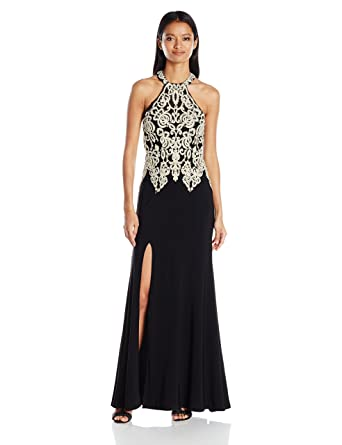 My Michelle Sequin Hearts by Juniors Long Prom Dress with Gold Embroidery and Sequins, Black