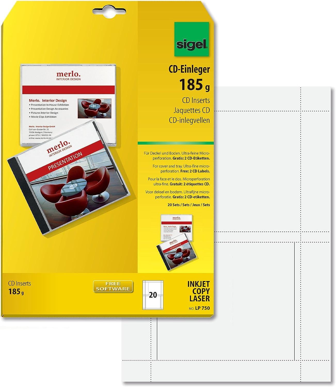 Sigel LP750 - Portadas de CD doble cara para impresoras láser e ...
