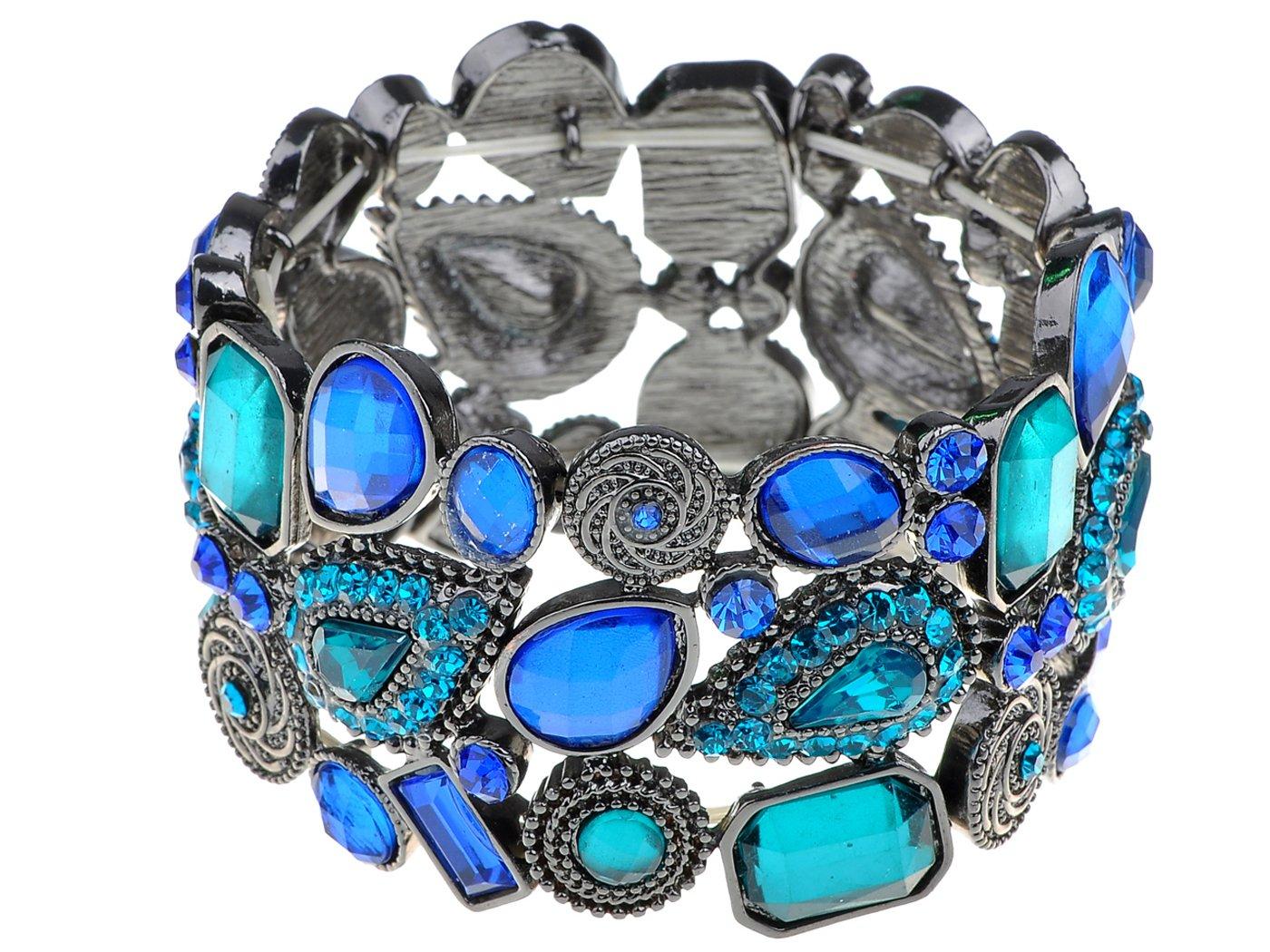 Alilang Antique Silvery Tone Blue Rhinestones Adjustable Stretch Cuff Bangle Bracelet