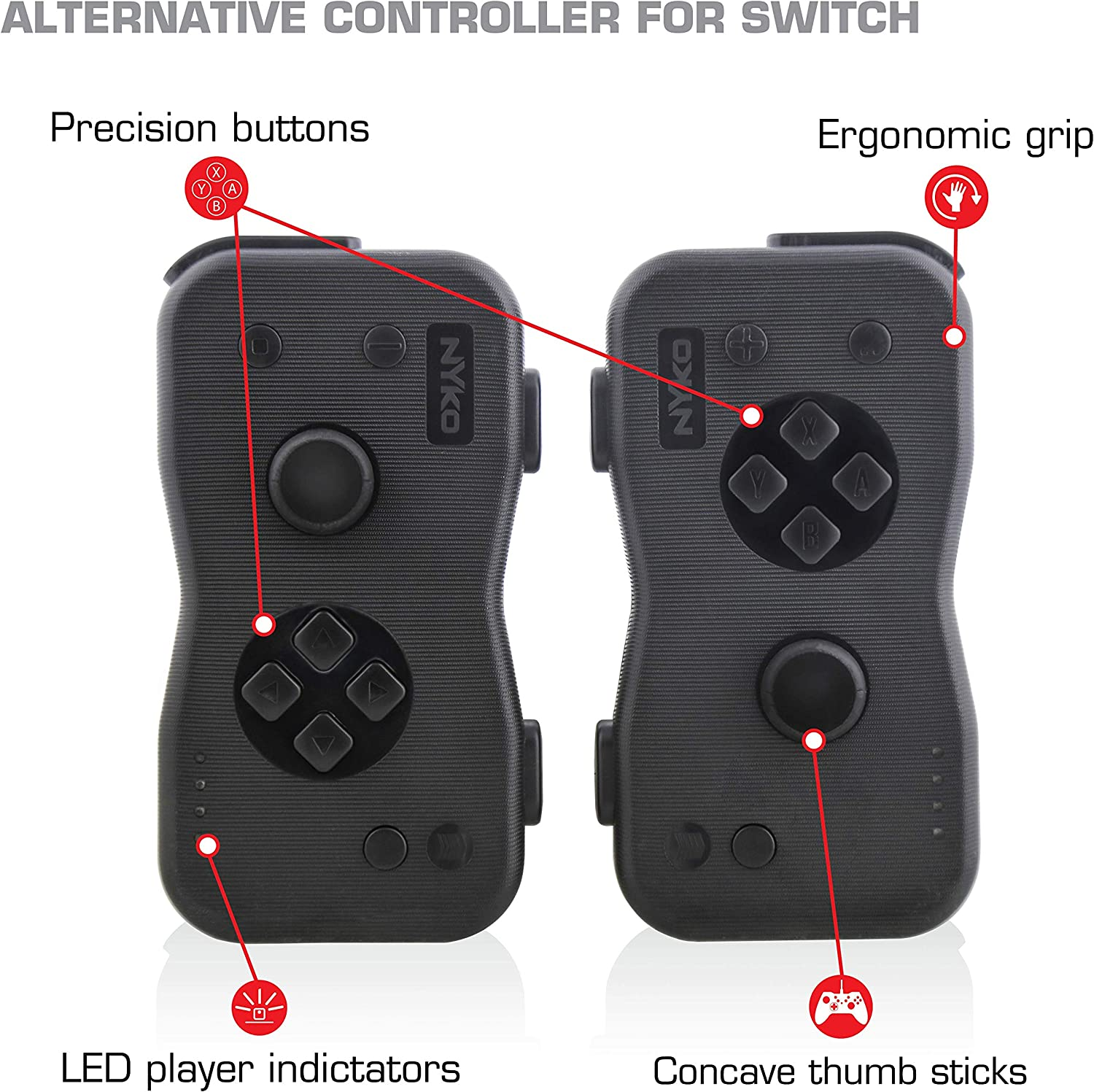 Nyko Dualies - Pair of Motion Controllers with Included USB Type-C Charging Cable, Joy-Con Alternative for Nintendo Switch [video game]: Amazon.es: Videojuegos