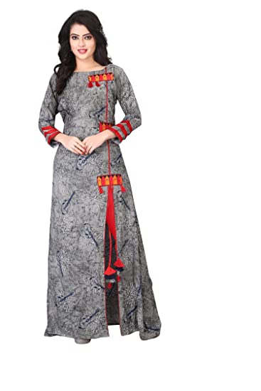 834ce6c4946f LooksGud 3/4 Sleeve Grey Rayon Straight Kurti for Women: Amazon.in:  Clothing & Accessories