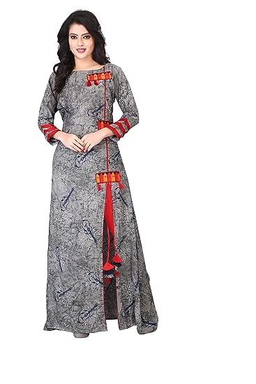 45a8c1a1d561f Leriya Fashion Women s 3 4 Sleeve Rayon Printed Kurti  Amazon.in  Clothing    Accessories