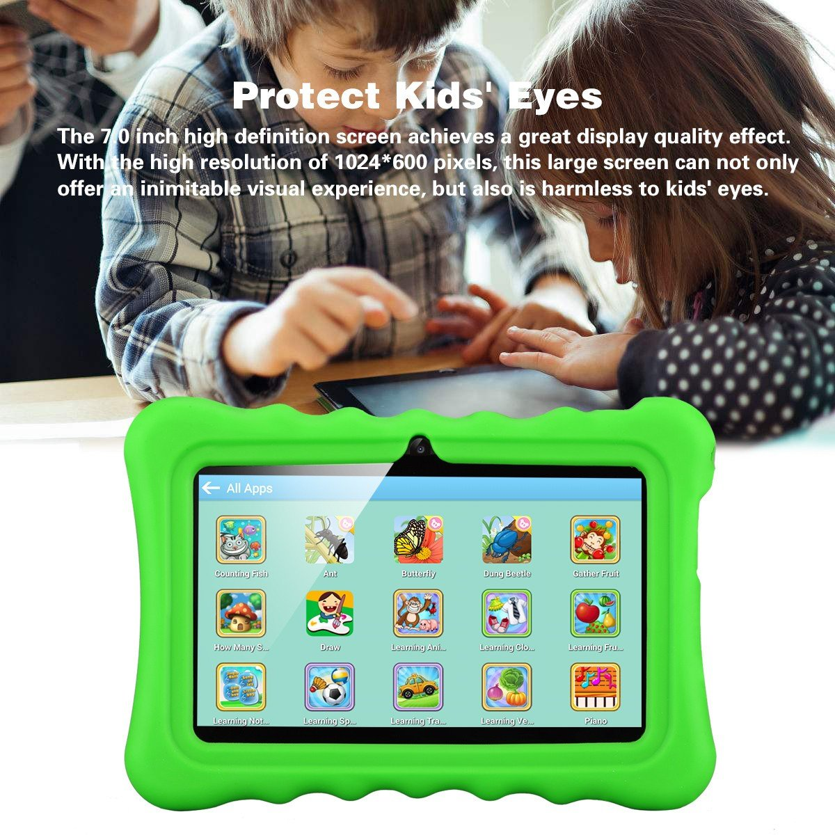 Ainol Q88 7 inch Eye-Protection Tablet with Adult Mode and Child Mode Android 8GB Education Tablet Gifts for Kids Sicicone Case Dual Camera WiFi External 3G by AINOL (Image #4)
