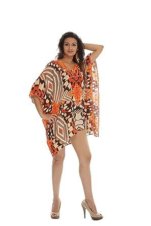 09718d481c D G PRINTS FAB Women's Georgette Turkish Kaftan Beachwear Swimwear Bikini  Cover ups Beach Dress Cardigan for