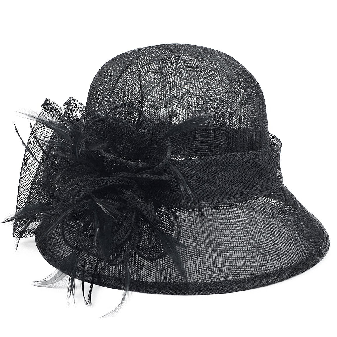 FORBUSITE Occasion Church Wedding Sinamay Cloche Hats for Women SM122 (Black) by FORBUSITE (Image #3)