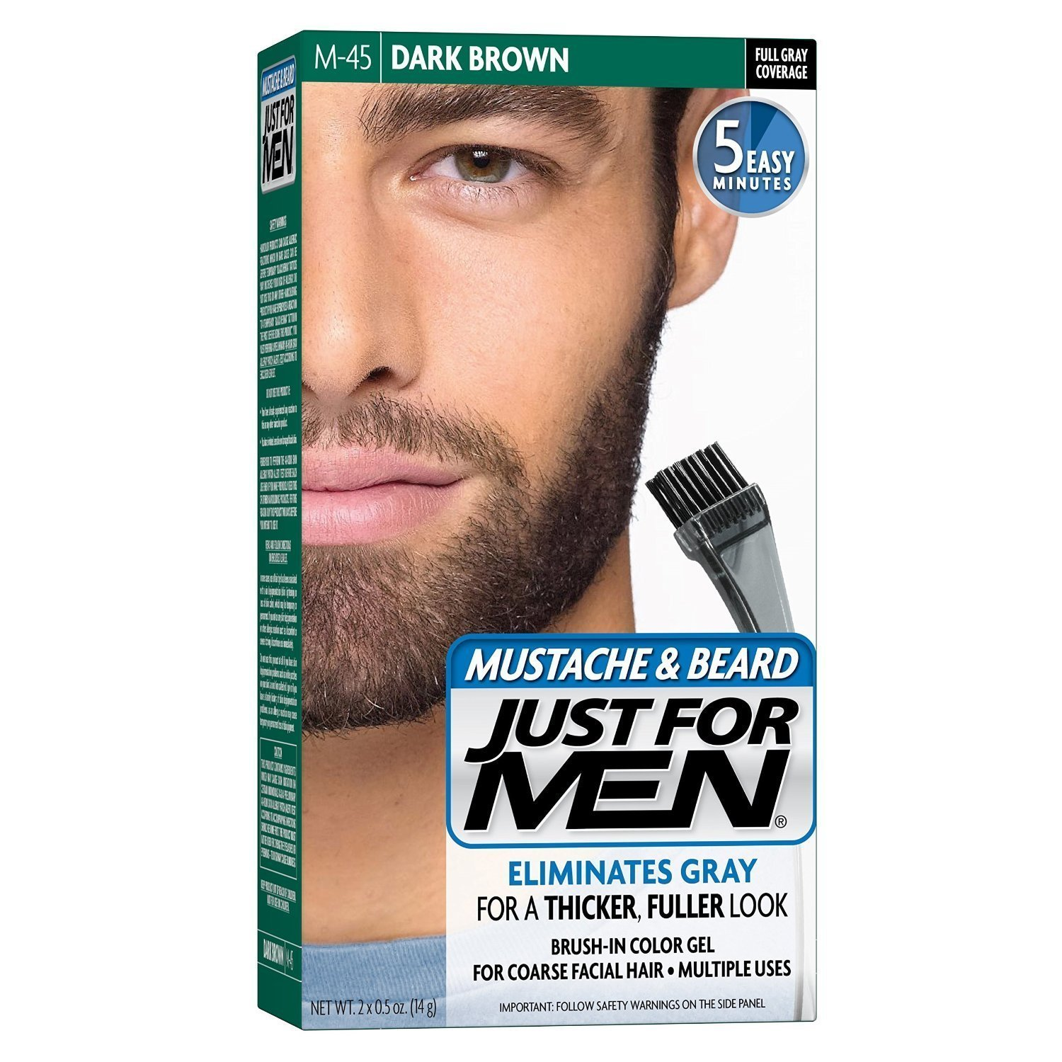 Just For Men Mustache & Beard Brush-In Color Gel Dark Brown M-45 - 1 ea., Pack of 2 COMBE INCORPORATED