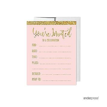 amazon com andaz press blush pink gold glitter print wedding
