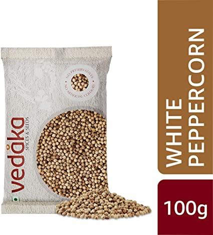 Amazon Brand - Vedaka White Peppercorn (Safed Mirch), 100g