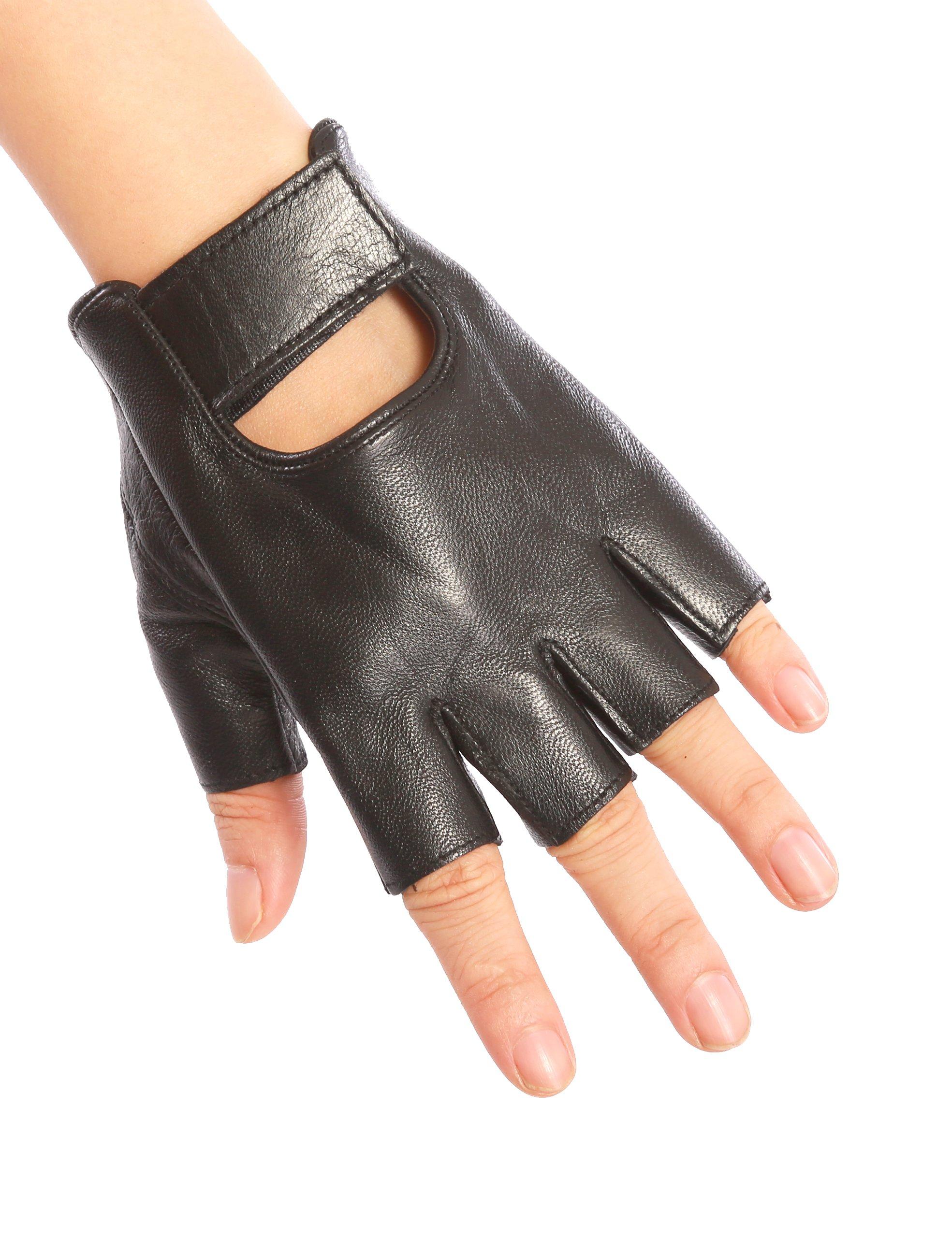 May&Maya Women's Genuine Nappa Leather Fingerless Motorcycle Fashion Driving Gloves (Black S)