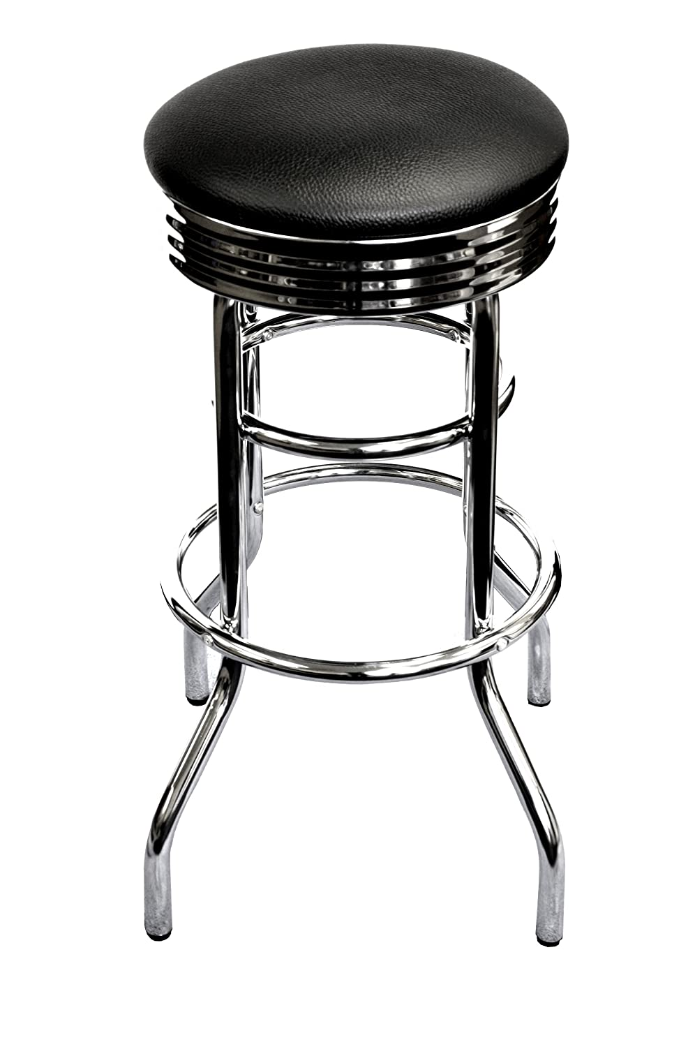 Amazon com trinity assembled chrome swivel barstool 29 inch black kitchen dining