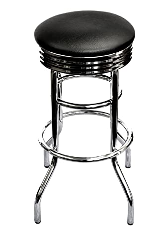 TRINITY Assembled Chrome Swivel Barstool, 29-Inch, Black