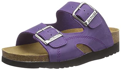 79c0d2cdaa12 Scholl Women s MOLDAVA WEDGE AD plumb Open Sandals Purple Size  6 ...