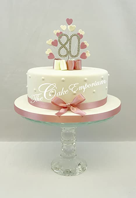 Cake Topper Heart Burst Spray Diamante 80th Birthday Vintage Pink