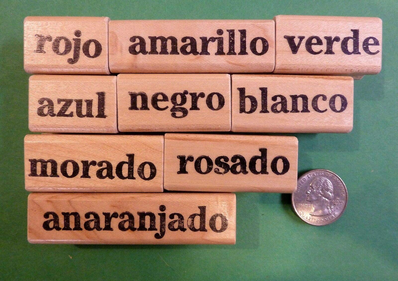 Spanish Teacher's Colors Rubber Stamp Set of 9, Wood Mounted - Rubber Stamp Wood Carving Blocks by Wooden Stamps