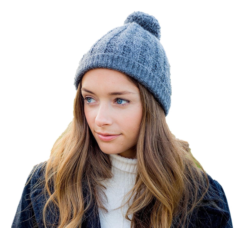 152f7afbe8d Amazon.com  Surhilo Lima Alpaca Knit Pom Pom Beanie - Charcoal Grey -  Winter Luxury Cap for Women