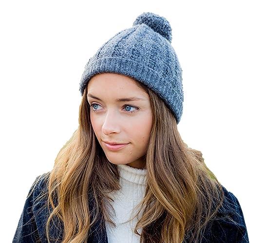 d8600e67964 Amazon.com  Surhilo Lima Alpaca Knit Pom Pom Beanie - Charcoal Grey ...