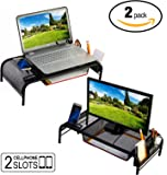 Monitor Stand Riser, Mesh Metal Desktop For Computer/Laptop TV Printer With Pull Out Drawer. New Design With Two Cellphone Slots. Two Compartments For Storage Organizer. Black 2-Pack By House Ur Home