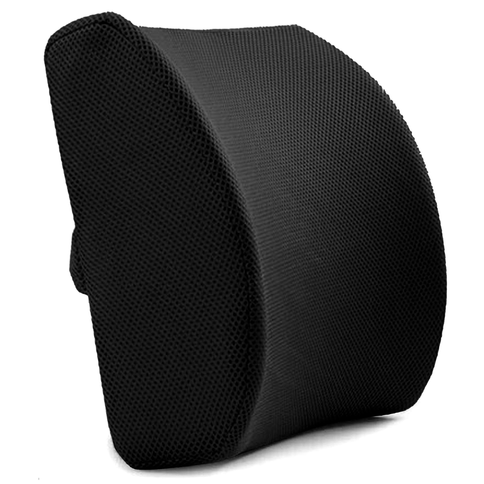 Back Support Cushion (Black) - Orthopedic Support - Memory Foam Lumbar Support Pillow with 3D Mesh Cover for Balanced Firmness by Slick Solutions