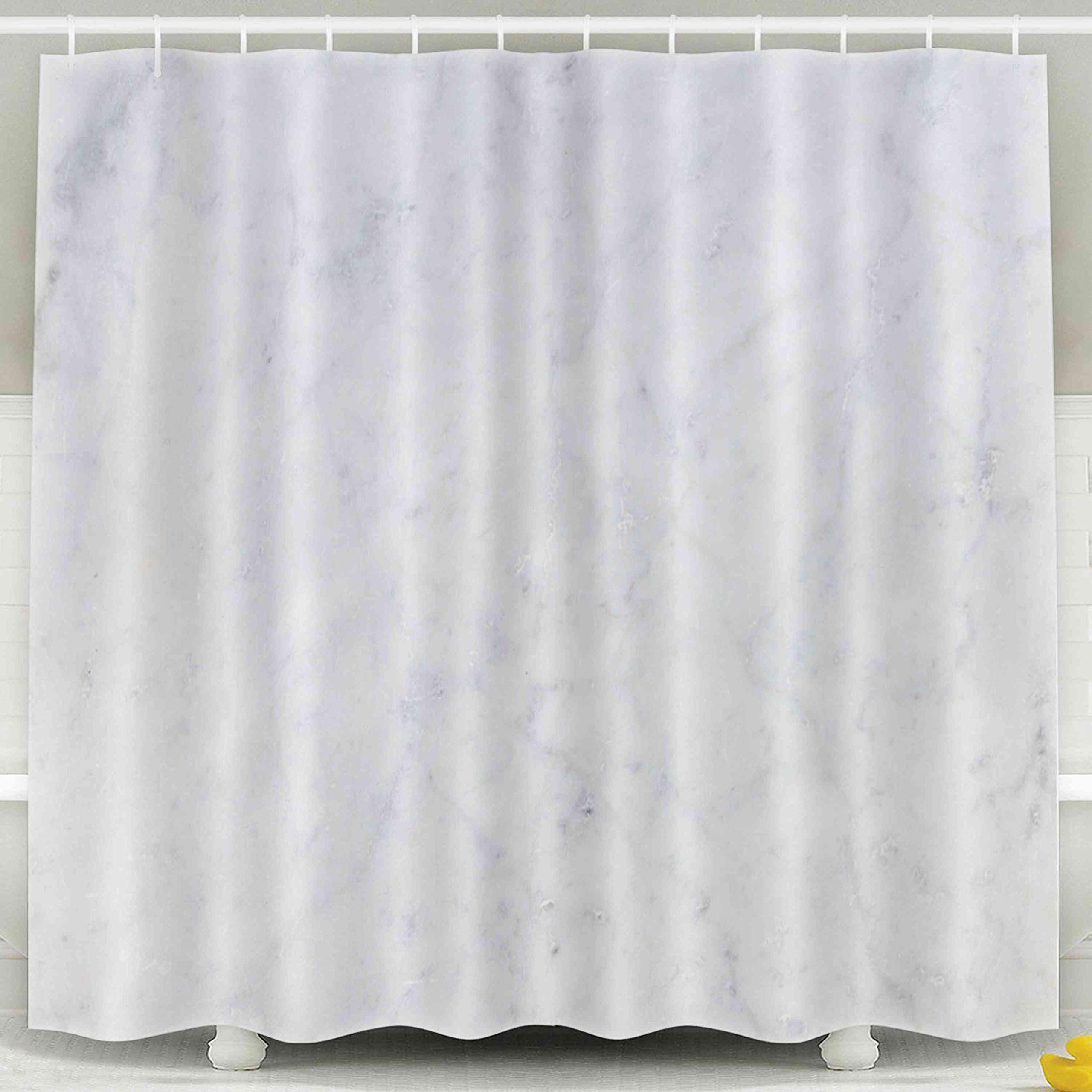Jacrane Waterproof Fabric Bathroom Clear Shower Curtains Liner with Hooks White Marble Texture Background High Resolution 72X72Inch,Pink Green