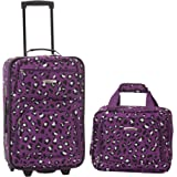 Rockland 2 Pc Luggage Set, Purple Leopard (Purple) - F102