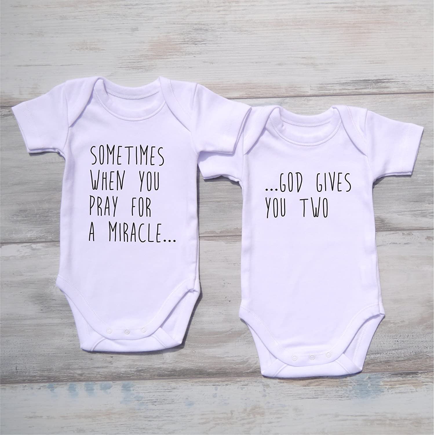 Gender Neutral Twin Baby Gifts, Set of 2 Matching Bodysuits, Short Sleeve, 0-3 Months