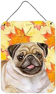 "Caroline's Treasures Fawn Pug Fall Metal Print, 16"" x 12"", Multicolor"