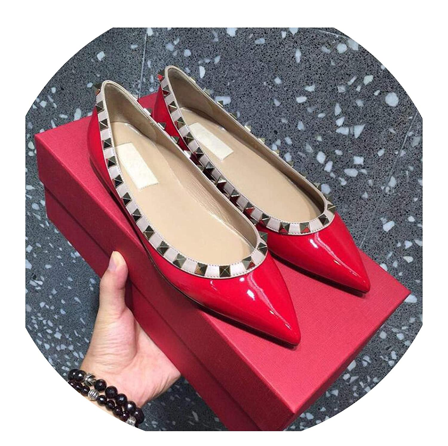 With logo2 FAT BABY Women's shoes Rhinestone Pointed Flat shoes Women's Rivet Pointed-Toe shoes Crystal Wedding shoes