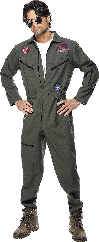 Smiffy'S 36287L Disfraz De Top Gun Con Mono, Placas De Identificación Y Gafas, Verde, L - Tamaño 42