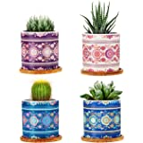 Succulent Pots Ceramic Cactus Pots , 3 Inch Succulent Planter with Drainage Hole, Bamboo Trays Set of 4