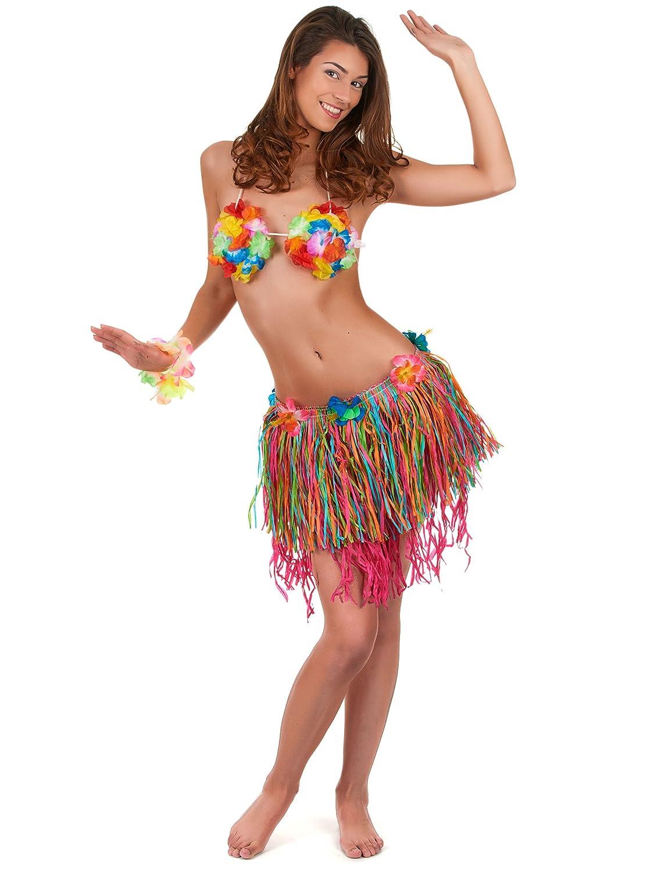 Vegaoo - Falda Hawaiana Corta Multicolor con Flores Adulto - Única ...