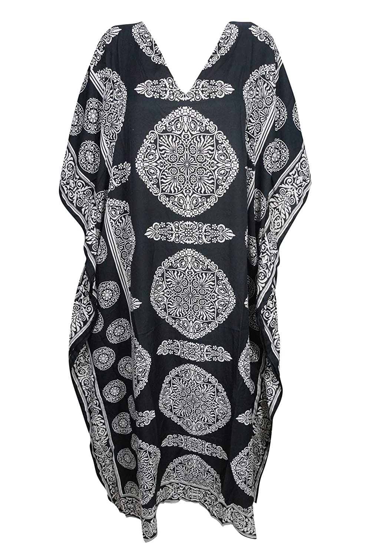 Mogul Interior Womens Efiya Long Caftan Casual Beach Maxi Dress One Size in-stok