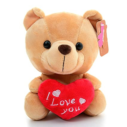 Gloveleya Oso Peluche Sosteniendo Corazón Te Amo Juguetes Rellenos Amante Regalos Marrón 6