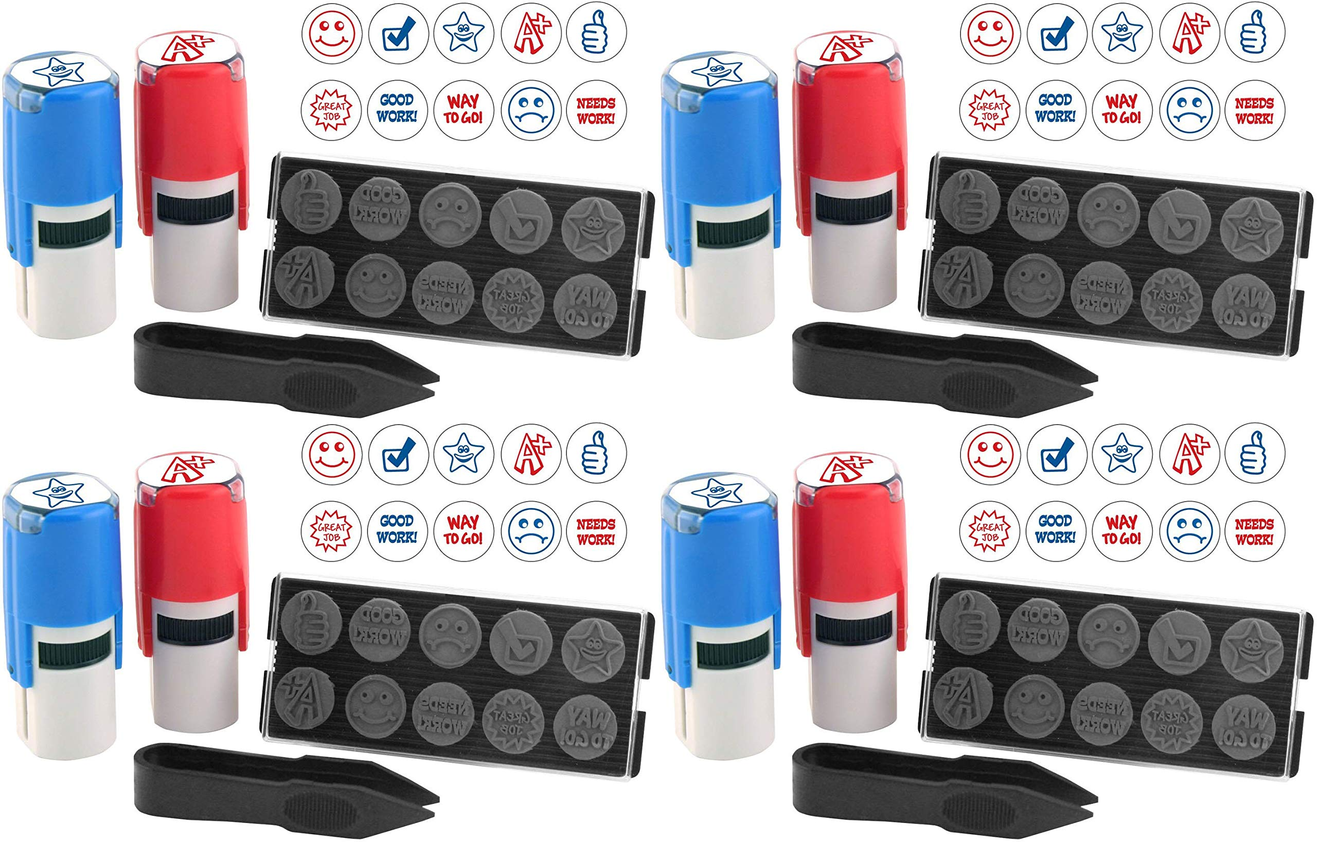 Stamp-Ever 10-in-1 Teachers' Student Work Stamp Kit, 10 Interchangable Self-Inking Stamps, 5/8-Inch Impression, Blue/Red (4630) (Pack 4) by Stamp-Ever