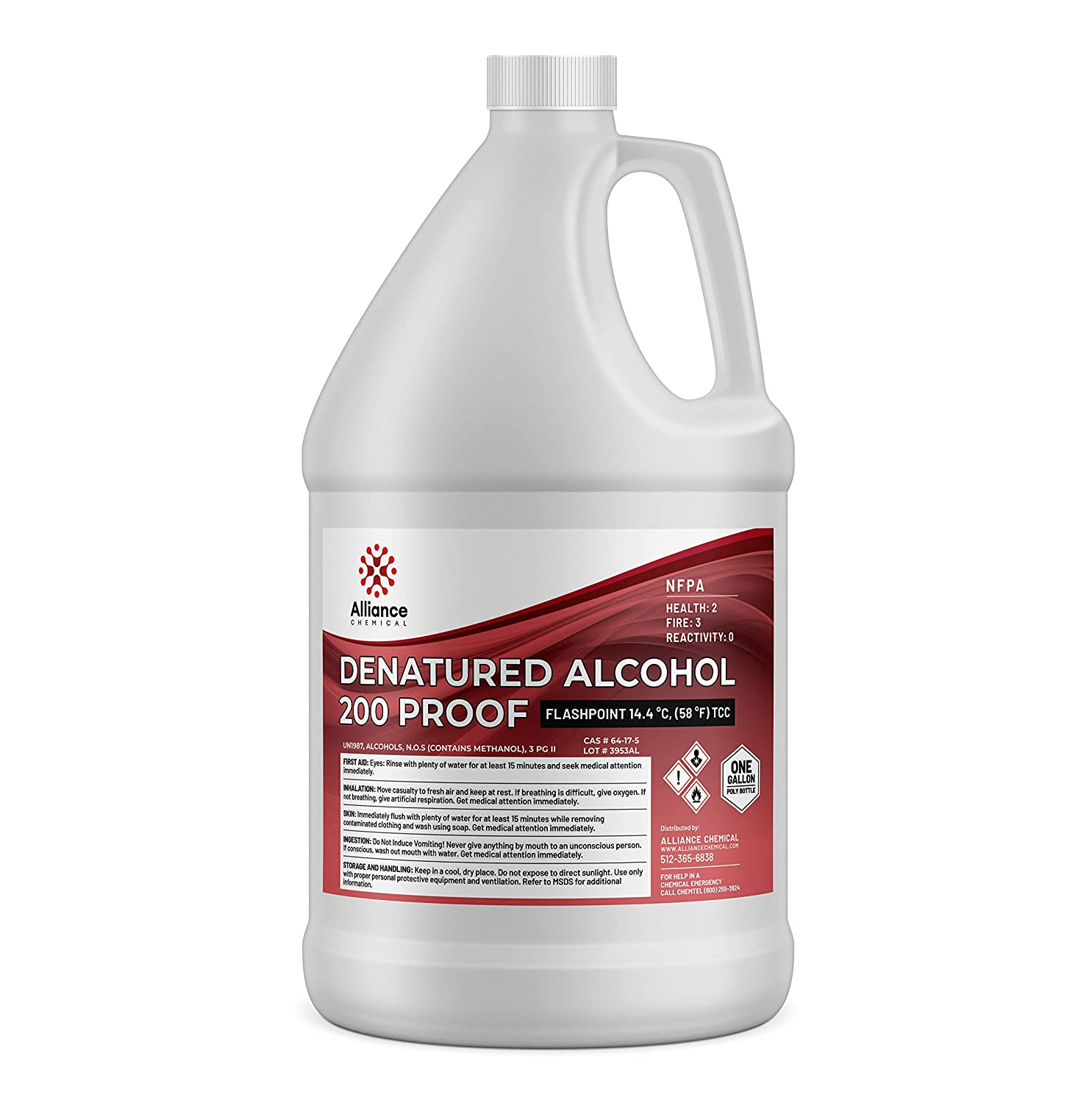 Alliance Chemical Laboratory-Grade Denatured Ethyl Alcohol 200 Proof - One Gallon - (4) 32 Fl Oz Bottles w/Reusable Evaporation and Leak Proof Seal