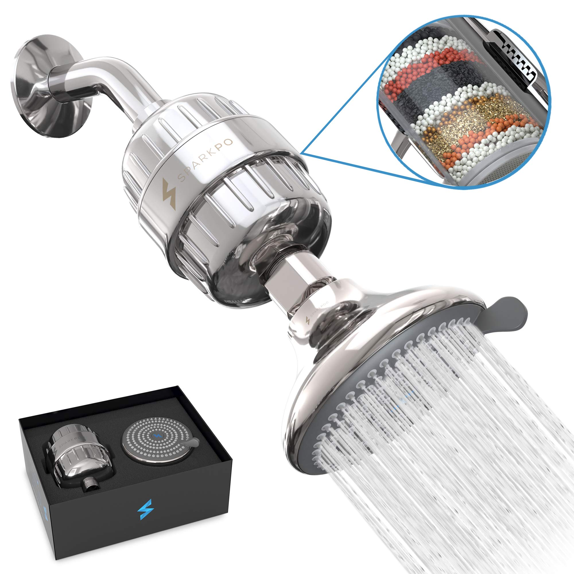 SparkPod Shower Filter Head - Filtered Shower Head with Proprietary Shower Filters to Remove Chlorine and Flouride - 12 Stage Showerhead Filter for Healthy Skin, Hair, and Nails by SparkPod