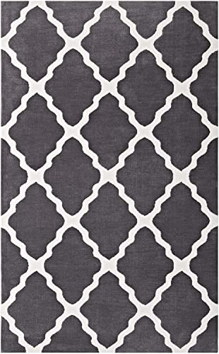 Modway Marja Moroccan Trellis 5×8 Area Rug with Lattice Design in Charcoal and Ivory