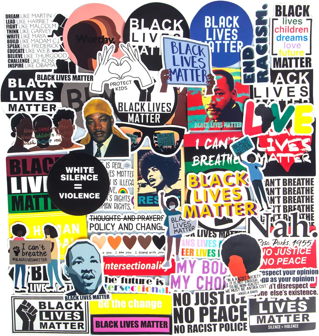 Black Lives Matter Stickers, 50PCS Black Rights Defender Stickers African Americans Laptop Stickers ACLU Women Rights Water Bottles Stickers for Bumper Vinyl Waterproof Computer Stickers