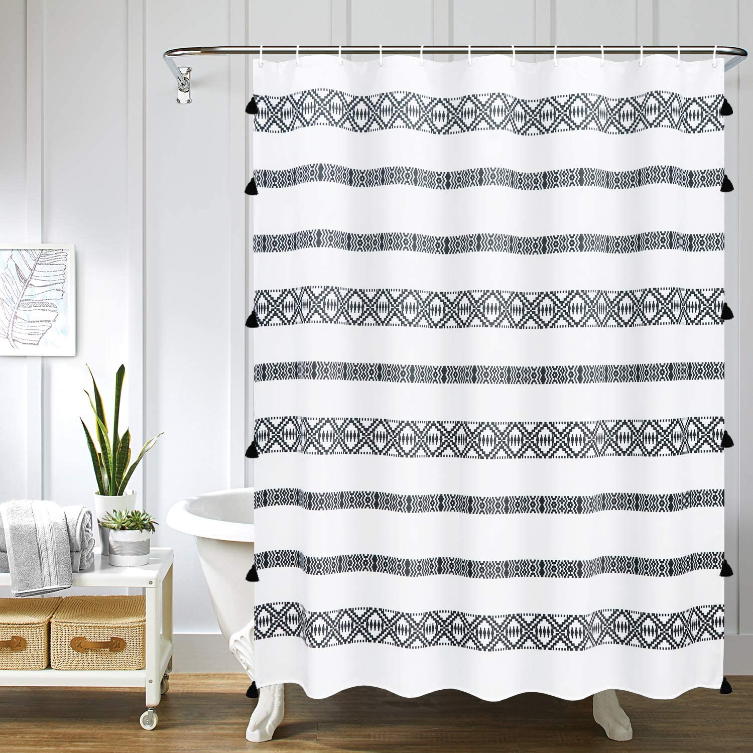 Uphome Fabric Boho Shower Curtain Black and White Geometric Striped Tassel Shower Curtain Set with Hooks Chic Tribal Bathroom Decor Accessories Heavy Duty and Waterproof, 72x72